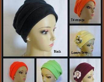 3 Seam Fleece Turban Chemo Headwear, Cancer Patient Hair Cover Gift, Tichel