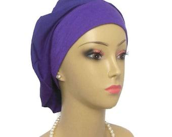 Beret Purple Jersey Turban  Volumizer Chemo Headwear, Cancer Patient Hat, Tichel Mitpachat Head Wrap, Alopecia Hair Cover, Soft Chemo Hat