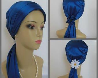 Jersey Scarf Turban Satin Navy, Volumizer Chemo Headwear, Cancer Patient Hat, Alopecia Cap