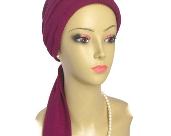 Jersey Scarf Turban Burgundy Sweater Knit Volumizer Chemo Headwear, Cancer Patient Scarf