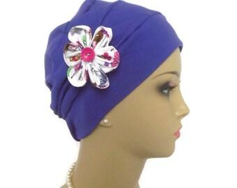 Purple 3-seam Cotton Interlocking Knit Turban,  Chemo Headwear, Tichel Alopecia  Med- Lg ,