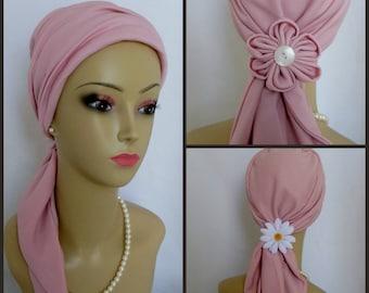 Jersey Scarf Turban Pastel Pink Satin, Volumizer Chemo Headwear, Cancer Patient Hat