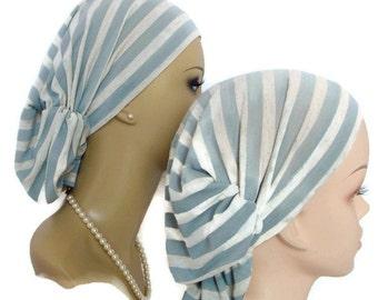 Hair Snood Gray Speckled Light Ivory Striped Turban, Volumizer Chemo Headwear, Cancer Patient Hat, Beach Hair Covering, Tichel Scarf  Reg-XL