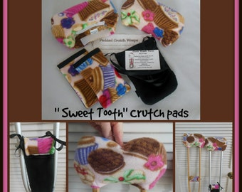 Sweet Tooth Fleece Padded Crutch Wrap Set, Girl Padded Crutch Cover,Crutch Phone Tote Bag, Toe Warmer Bootie Volleyball Sock Cast Stop Pain
