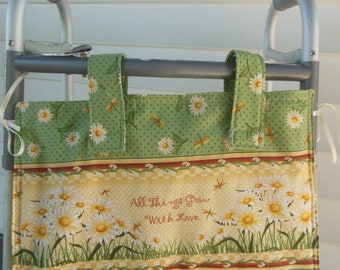 """Daisy Love Walker Tote Bags 11x19"""", Machine Washable Lined Walker Bag, Bed Rail Caddy, Walker Organizer Pockets, Hip Surgery Gift"""
