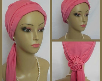 Coral Rose Jersey Volumizer Chemo Headwear Cancer Patient Hat,Alopecia  Hair Cover,Tichel