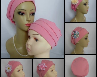3-seam Pink Toddler Adult Turban Double Knit Chemo Headwear, Cancer Patient Hair Cover