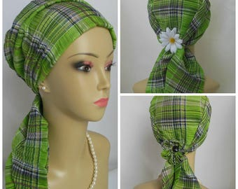 Scarf Turban Lime Green Plaid Volumizer Headwear Cancer Patient Hat, Tichel Beach Wear