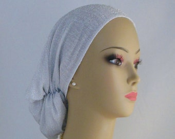 Hair Snood Shimmering Metallic Silver Jersey Turban | Volumizer Chemo Headwear | Cancer Patient Hat | Dressy Hair Covering | Tichel Wedding