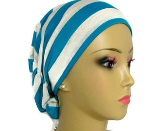 Hair Snood Deep Teal & White Stripe Jersey Turban, Volumizer Chemo Headwear, Cancer Patient Hat, Tichel  Hair Cover, Beach Cap Reg-XL