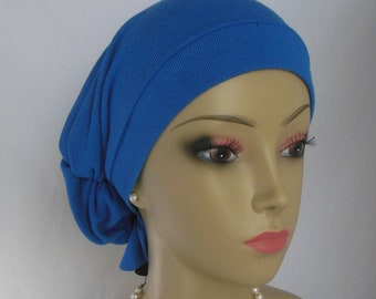 Hair Snood Turban  Blue Sweater Knit Volumizer Chemo Alopecia Headwear, Cancer Patient Hat
