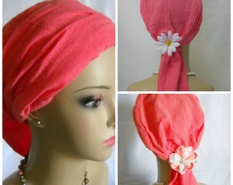 Coral Gauze Scarf Turban, Volumizer Chemo Headwear,Cancer Patient Hat, Alopecia Hair Cover