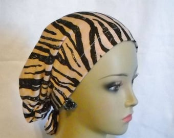 Hair Snood Black Tiger Stripes Peach Turban, Volumizer Chemo Hearwear, Cancer Hat Med - XL