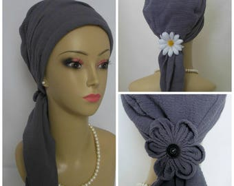 Gray Gauze Scarf Turban Gray Volumizer Chemo Headwear, Cancer Patient Hat, Alopecia
