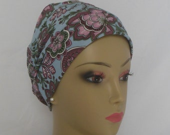 Jacobean Print Turban, Adult Chemo Headwear Cancer Patient Hair Cover Cap, Israel Tichel