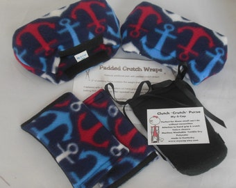 Padded Crutch Pad Red Blue Anchor Fleece, Crutch Phone Tote Bag, Toe Warmer Bootie