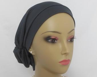 Hair Snood Dark Gray Satin Jersey Turban Chemo Headwear, Cancer Patient Hat,Alopecia  Cap