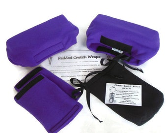 Crutch Pads: Deep Purple Fleece, Crutch Phone Tote Bag ,Toe Warmer Bootie