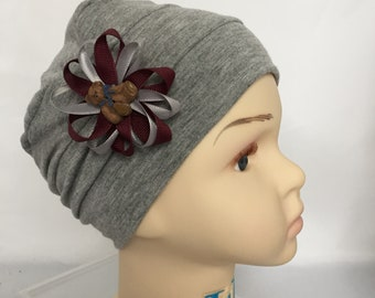 Gray Rayon Jersey Cap,  Adult  Child Chemo Headwear, Toddler Cancer Patient Hair