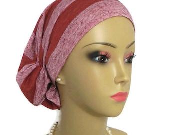 Large Hair Snood Clay Stripe Turban, Volumizer Chemo Headwear, Cancer Patient Hat, Tichel