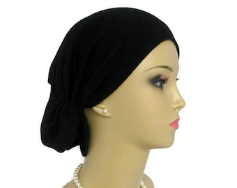 Solid Black Jersey Hair Snood Turban Volumizer Chemo Headwear, Cancer Patient Hat,Tichel