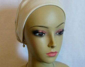 Organic Ivory Cotton Turban 3-seam Hair Cover, Alopecia, Tichel , Volumizer Chemo Headwear