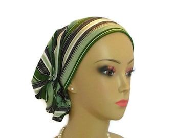 Jersey Hair Snood: Stripes Of Olive Sea Green & Charcoal  Bing ,Chemo Headwear, Alopecia