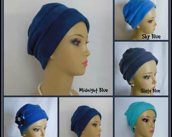 Blue Fleece Turban,  Chemo Headwear, Cancer Patient Hair  Gift. Winter Tichel