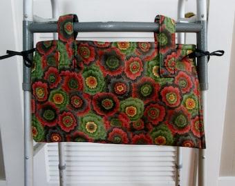 Walker Tote Bag Metallic Flower Explosion, Bed Rail Walker Bag, Female Walker  Organizer