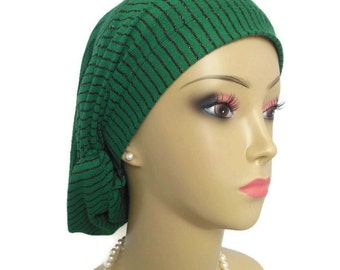 Hair Snood Hunter Green & Black Metallic Stripe Turban | Volumizer Chemo Headwear | Cancer Patient Hat | Hair Covering | Tichel Head Wrap