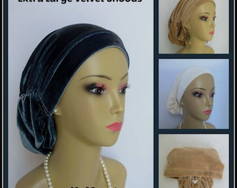 Extra Large Velour Hair Snood Headwear, Jersey Knit Cancer Patient Hat, Hair Cover, Tichel