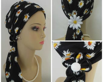 Daisies On Black Jersey Scarf Turban  Chemo Headwear, Cancer Patient hats, Tichel Cover
