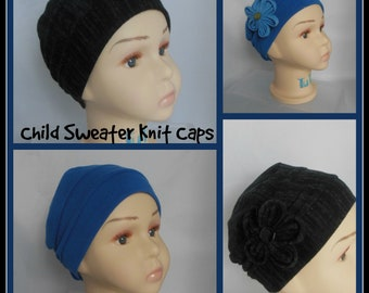 Child 3-Seam Sweater Knit Jersey Turban Cap , Toddler Chemo Headwear,  Cancer Patient Hat,