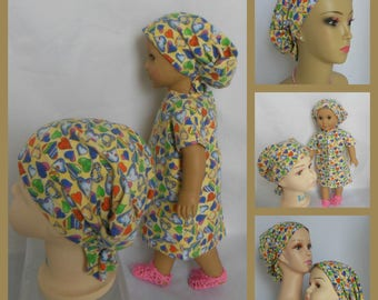 "Toddler Hair Snood  18"" Doll Outfit,  Volumizer Chemo Headwear, Girl  Alopecia Hair Cover"