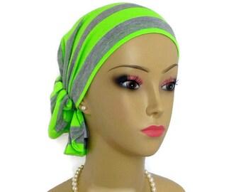 Hair Snood Neon Silver Striped Turban,Volumizer Chemo Headwear, Cancer Patient Hat, Tichel