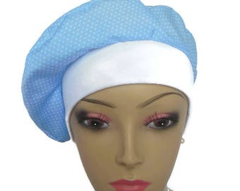 Blue Beret Turban  Volumizer Chemo Headwear, Cancer Patient Hat, Tichel Mitpachat Head Wrap, Alopecia Hair Cover, Soft Chemo Hat