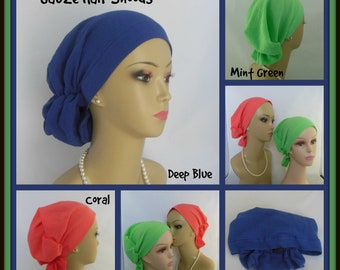 Gauze Hair Snood Turban;  Black, Red, Coral or Green Volumizer Chemo Headwear, Alopecia, Breathable chemo headwear,
