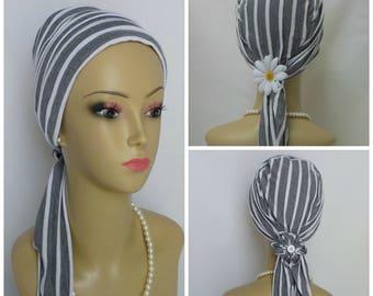 Jersey Scarf Turban White Gray Stripes Chemo Headwear, Cancer Patient Hat,Alopecia Tichel