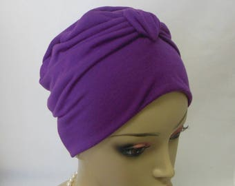 Front Knotted Jersey Turban Purple Lavender Chemo Sleep Cap Headwear, Alopecia Hat Cancer Patient Hat, Tichel Head Wrap, Yoga Cap Sm-Med