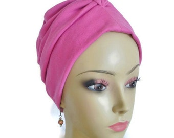 Front Knotted Jersey Turban Melrose Pink, Chemo Headwear, Cancer Patient Hat, Tichel & Mitpachat Head Wrap, Sleep Cap , Yoga Cap Large- XL