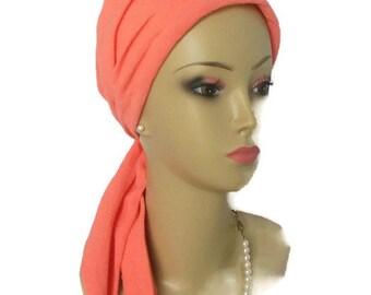 Pink Coral Gauze Scarf Turban Volumizer Chemo Headwear, Cancer Patient Hat, Alopecia Cap