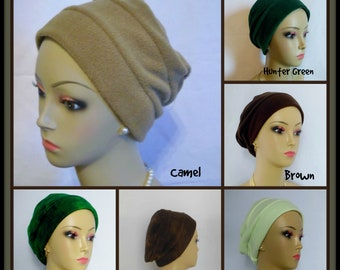 3-seam Brown  Green Fleece Turban Chemo Headwear, Cancer Patient Hair Cover Med- Large