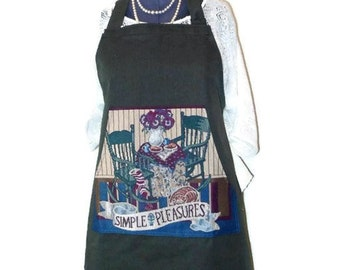Large Butcher Style Apron, Full Size Cafe Apron, Christmas Kitchen Gift, Long Ties  Apron