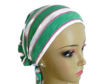 Hair Snood Mint Green Rose Turban, Volumizer Chemo Headwear, Cancer Patient Hat ,Tichel Mitpachat Head Wrap, Alopecia Beach Cap