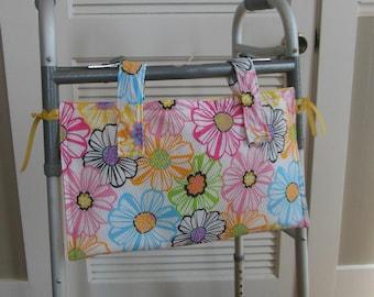 Female Walker Tote Bag Bold Pastel Flowers, Rehab Walker  Bed Rail Walker Bag Organizer