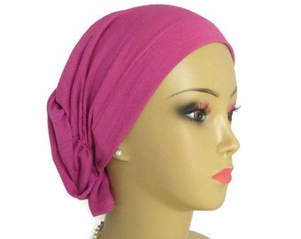 Hair Snood Rose Jersey Turban, Volumizer Chemo Headwear, Cancer Patient Hat, Hair Cover