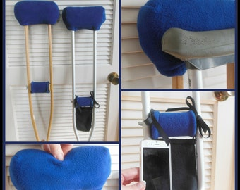 Indigo Blue Fleece Padded Crutch Wrap, 2inch Bounce Back Padding Crutch Pad, Crutch Tote Bag, Toe Warmer Cast Sock, Stops Arm Pain