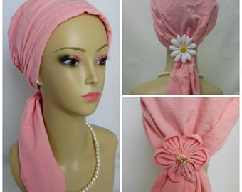 "Pink Rose Gauze Knit Scarf Turbans Chemo Volumizer Headwear 18"" Ties, Cancer Patient Hat"