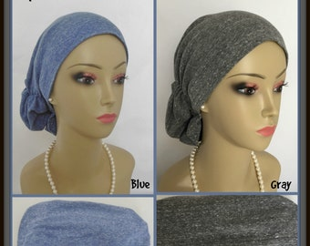 Ex Large Hair Snood Speckled Gray Blue Jersey Turban, Volumizer Chemo Headwear Ex L