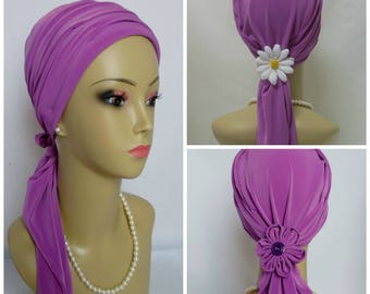 """Jersey Scarf Turban Sweet Azalea Lavender Rose 16"""" Ties Volumizer Chemo Headwear, Cancer Patient Hat, Alopecia Head Wear, Tichel Head Wrap"""